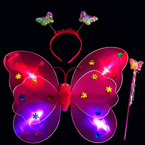 Baby Led Halloween Costume (Promisen Girls Led Flashing Light Fairy Butterfly Wing Wand Headband Costume Toy (hot pink))