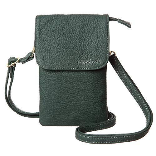 MINICAT Roomy Pockets Series Small Crossbody Bags Cell Phone Purse Wallet For Women(Dark Green) - Flat Wallet Purse