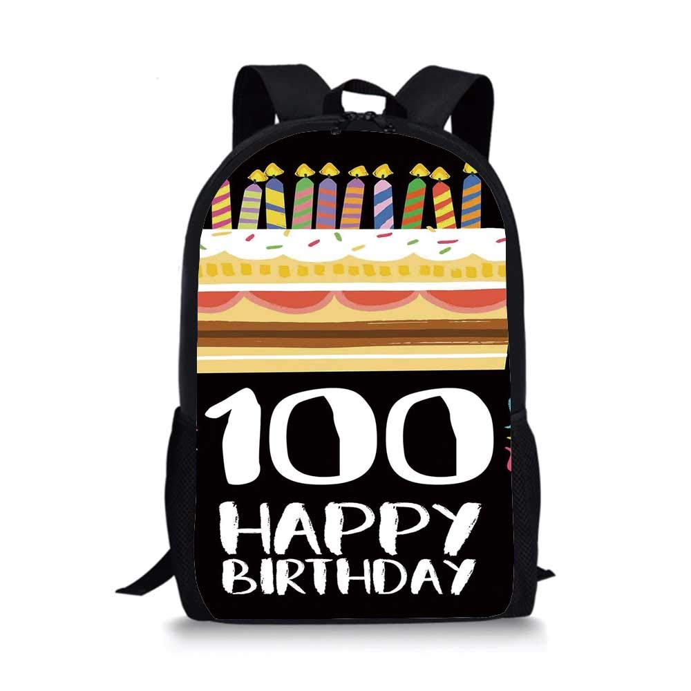 100th Birthday Decorations Individual School Bag,Old Legacy 100 Birthday Party Cake Candles on Black Backdrop for Children Student,One_Size