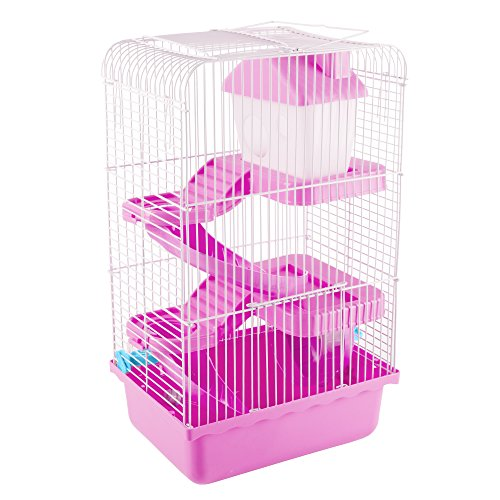 Hamster Cage Habitat, Critter/Gerbil/ Small Animal Starter Kit with Attachments/Accessories- Water Bottle, Tunnel Ladders, Wheel by PETMAKER (Pink) ()