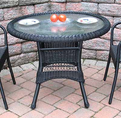 Wicker Warehouse 36 Round Resin Bistro Table With Umbrella Hole