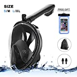 Full Face Breathing Snorkel Mask, Black Scuba Diving Mask Full Face UV Protection Anti Fog and Easy Breathing, Foldable Dry Snorkeling Tube Easy Assemble and Compatible With Detachable Camera Mount
