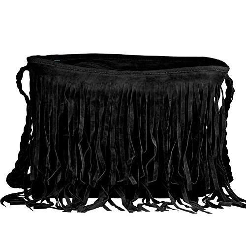 Women Handbag Bag Color Messenger Shoulder nabati Faux Fringe Suede Black Tassel xq0PpR