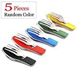 Camping Utensils Cutlery Set - 4 in 1 (Fork/Spoon/Knife/Bottle Opener) -5 Pack- Stainless Steel Folding & Detachable Flatware Tableware Pocket Kits for Hiking Survival Camping Travel ,Random Color