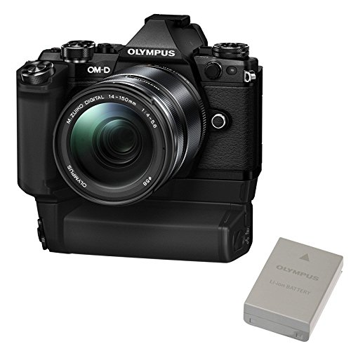 """Olympus OM-D E-M5 Mark II Power Kit - Kit per fotocamere EVIL di 16.1 Mpix, schermo LCD 3"""", zoom motorizzato, stabilizzatore, Wi-Fi, nero, con 14-150mm obiettivo 8-HLD impugnatura E batteria BLN-1 product image"""