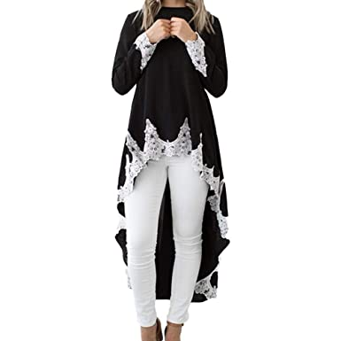 LHWY Elegant Kleider Damen Festlich Hochzeit Frauen Langarm Bluse Casual  O-Ausschnitt Pullover Unregelmäßigen Spitze b99035f65f