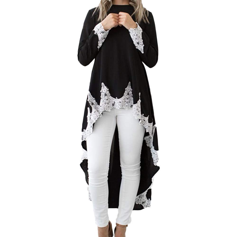 NUWFOR Women's Long-Sleeved Casual O-Neck Pullover Irregular Hem Solid Color Lace Dres(Black,XL)