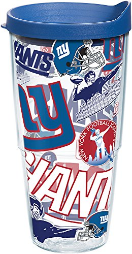 Tervis 1248300 NFL New York Giants All Over Tumbler with Wrap and Blue Lid 24oz, Clear