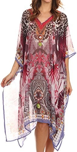 21658 Sakkas Tala Rhinestone Accented Multicolored Sheer Caftan Top / Cover Up - Pink / White - OS