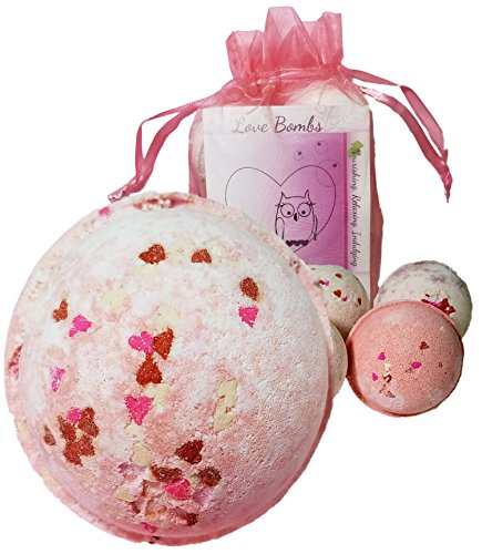 Price comparison product image Love & Hearts Mother's Day Gift Set 6 Bath Bombs from Enhance Me,  Handmade with Organic Palm Oil,  Rich Shea Butter and Coconut Oil