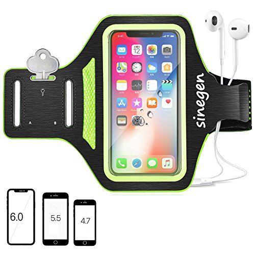 Armband for Sport Running Gym Fitness, 6 Inch Case for iPhone X/8/7/7Plus, Galaxy S8Plus/S8/S7/S6 with Water Resistant, Fingerprint Touch, Card Holder/Key Holder/Earphone Holder - Black Green (Armband Apple Green)