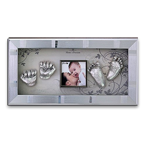 Momspresent Baby Hands and Foot Casting 3D Print DIY Kit with Silver Frame6 Silver