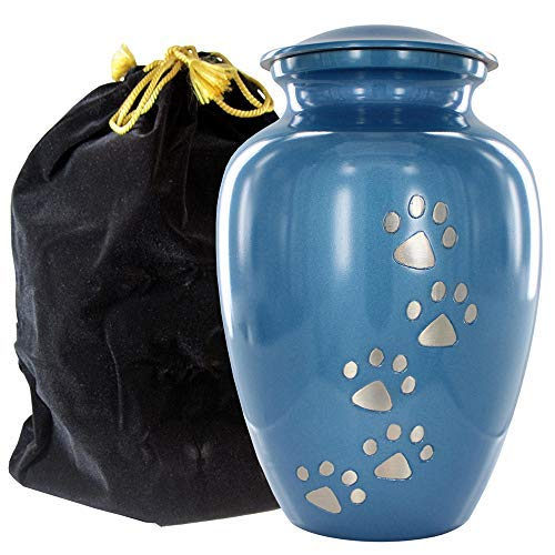 Always Faithful Small Blue Pet Urns For Dogs Ashes And Cats Too - Find Peace And Comfort With This Quality Dog Or Cat Pet Urn - 6 Inches Tall Holds Remains Up To 42 Lbs - With Velvet Bag