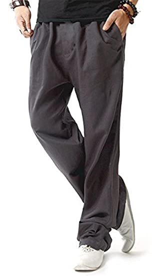 4226ef355d TBMPOY Men's Linen Casual Elastic Loose Fit Straight Pants Yoga Beach  Summer Trousers(1 Gray