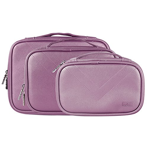 BUBM Travel Electronics Organizer Bag Portable 3 pcs/set Gadget Carrying Storage Bag,Cable Organizer Cases for USB Cables, Hard Drive,Memory Card,Power Bank,External Flash,2 Year Warranty (Purple) by BUBM
