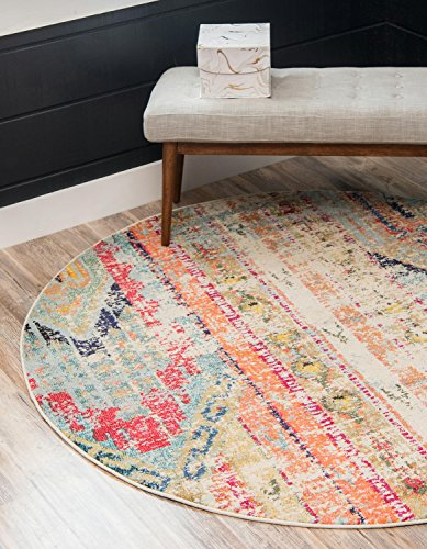 Unique Loom Sedona Collection Distressed Southwestern Tribal Multi Round Rug (6' 0 x 6' 0) ()