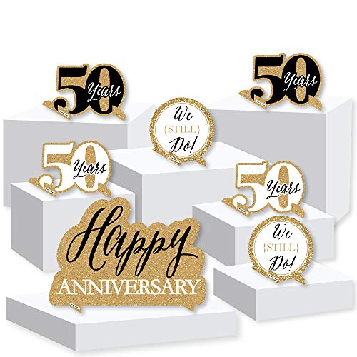 (We Still Do - 50th Wedding Anniversary - Anniversary Party Centerpiece and Buffet Table Decor - Tabletop Standups - Set of)