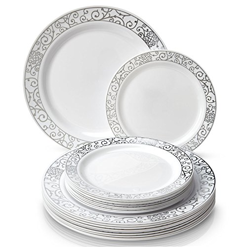 ELEGANT DISPOSABLE 240 PC DINNERWARE SET | 120 Dinner Plates | 120 Side Plates | Heavy Duty Plastic Dishes | Elegant Fine China Look | for Upscale Wedding and Dining (Venetian Collection-Silver/White)