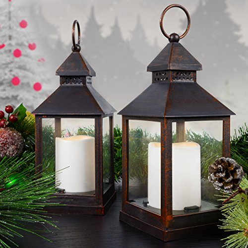 Set of Two LED Lanterns With Flickering Flame Effect - Brushed Bronze Plastic with Flameless Pillar Candles Included - Battery Operated - 11 Inches