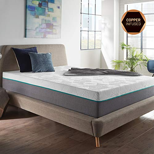 RENUE 12-Inch Memory Foam Mattress, Copper & Gel Infused Foam for Improved Health, Cool Sleep, Mattress in Box, Handcrafted in The USA, Twin ()