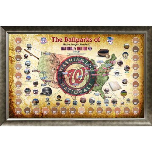 Steiner Sports MLB Washington Nationals Major League Baseball Parks Map 20x32 Framed Collage with Game Used Dirt from 30 Parks
