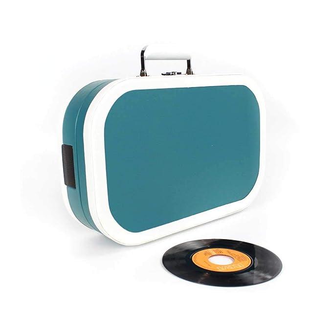 PRIXTON - Tocadiscos de Vinilos Vintage y Reproductor mp3 de Musica Mediante Bluetooth y USB, 2 Altavoces Incorporados, Diseño de Maleta, Color Azul | ...