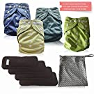 Baby Cloth Diapers All in One Size Bundle by Angelicware. Reusable Bamboo Pocket Diaper + 5Layer Inserts & Dry/Wet Bag. Leak proof aio, soft, absorbent - Perfect Gift. Keep them Happy & Dry