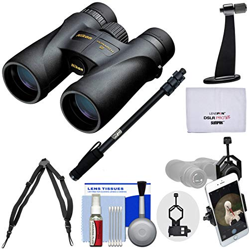 Nikon Monarch 5 8x42 ED ATB Waterproof/Fogproof Binoculars with Case + Harness + Smartphone and Tripod Adapters + Monopod + Cleaning Kit