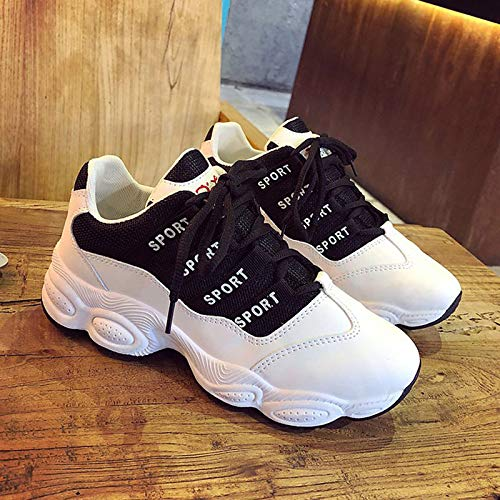 Toe Mujer de Poliuretano PU White Flat Sneakers ZHZNVX Rosa Comfort Round Negro Blanco Summer Heel Zapatos EPgqn5AA1a