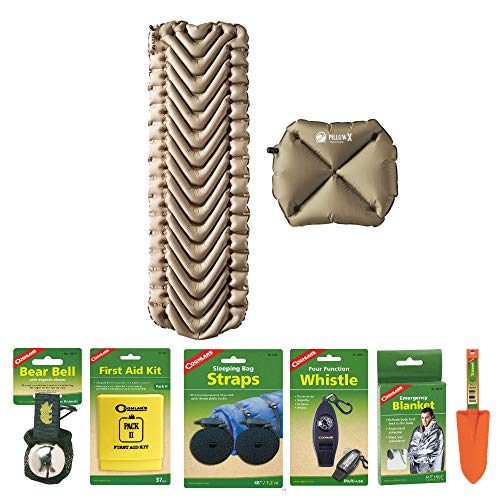 Klymit Static V Recon Lightweight Sleeping Pad (Coyote Sand) with Pillow X (Tan) and Camping Essentials Kit | Emergency Blanket, Bear Bell, Whistle, and More Included in Bundle