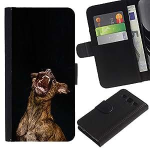 Australian Cattle Dog Yawn Teeth - la tarjeta de Crédito Slots PU Funda de cuero Monedero caso cubierta de piel Samsung Galaxy S3 III I9300