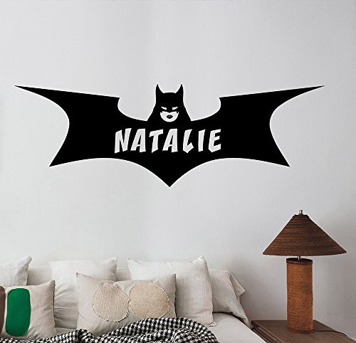 Personalized Name Batgirl Logo Wall Decal Custom Sticker DC Comics Superhero Vinyl Art Decorations for Home Housewares Bedroom Teen Kids Girls Room Decor -