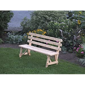 Cedar 6 Foot Picnic Table BACKED BENCH ONLY - STAINED- Amish Made USA -Redwood