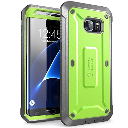 (SUPCASE Unicorn Beetle Pro Series Case Designed for Galaxy S7 Edge, Full-Body Rugged Holster Case Without Built-in Screen Protector for Samsung Galaxy S7 Edge (2016 Release) (Green/Gray))