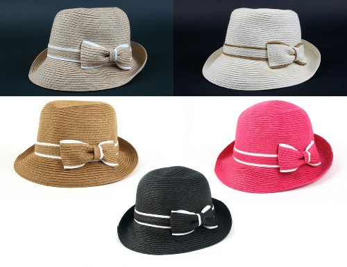 Women's Classic Straw Cloche Bow Hat 960HF