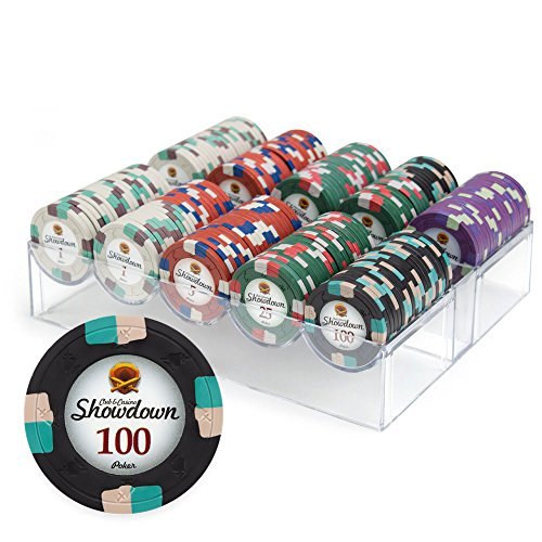 200ct Showdown Poker Chip Set in Acrylic Case with Lid, 13.5-gram Heavyweight Clay Composite by Claysmith Gaming Executive Poker Set