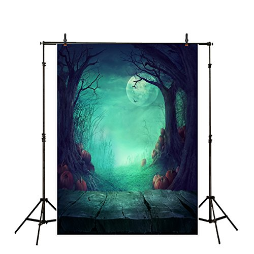 Funnytree 5x7ft Polyester Halloween Theme Photography Backdrop The Wooden Floor Ghost Twisted Trees with Pumpkins Background Gloomy Full Moon Dark Night Interior Outdoor Terror Photo Studio Props ()
