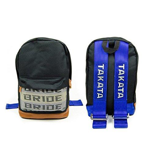 - JDM Bride Racing Backpack Brown Bottom with Blue Tk Racing Harness Shoulder Straps BR/BL/TK