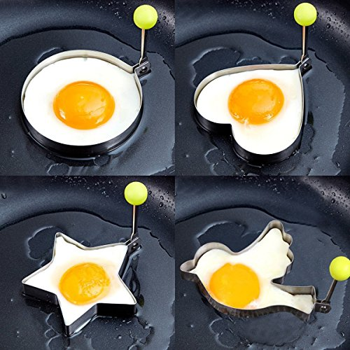Egg poacher- 8pcs Different Shapes Stainless Steel Fried Egg Molds with 1pc Silicone Pastry Brush - Set of 9 by PNBB (Image #5)