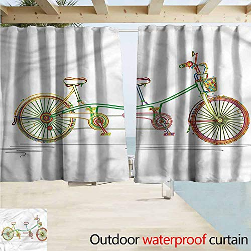 (Rod Pocket Top Blackout Curtains/Drapes Bicycle Tandem Bike Design Room Darkening, Noise Reducing W63x63L Inches)