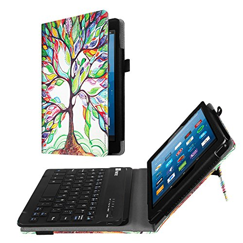 Fintie Folio Keyboard Case for All-New Amazon Fire HD 8 (7th and 8th Gen, 2017 and 2018 Releases), PU Leather Stand Cover with All-ABS Hard Material Removable Wireless Bluetooth Keyboard, Love Tree