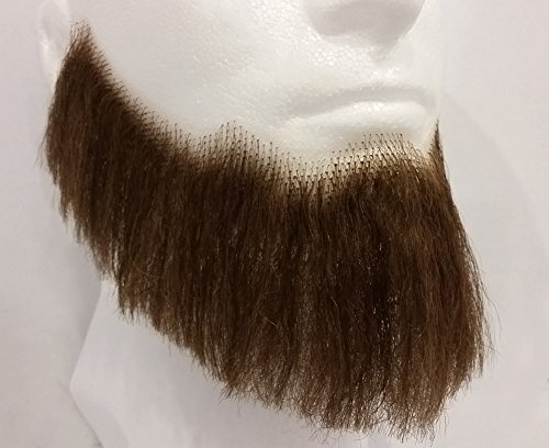 Full Character Beard MEDIUM BROWN w/ Spirit Gum - REALISTIC! 100% Human Hair - Adhesive Included - no. 2024 - Perfect for Theater! -