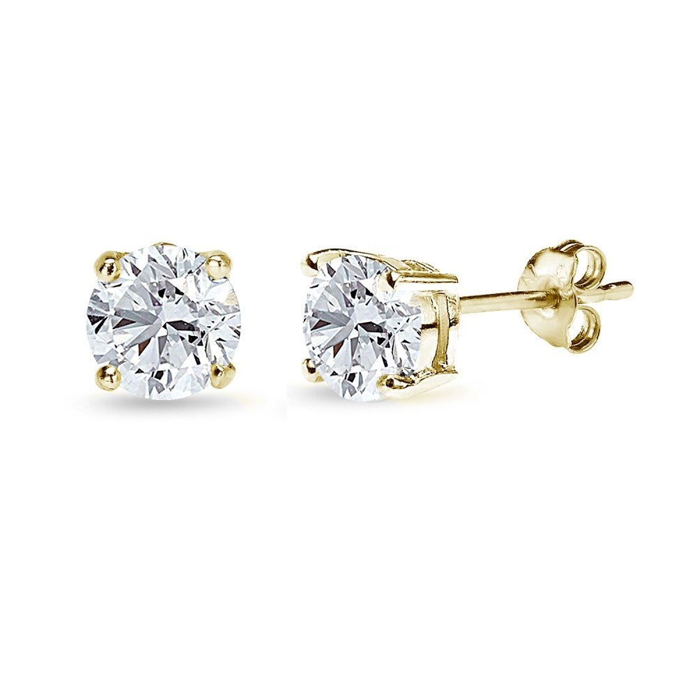 Yellow Gold Flashed Sterling Silver Cubic Zirconia 6mm Round Stud Earrings