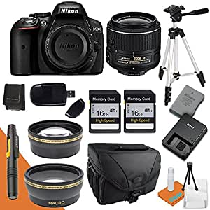 Nikon D5300 with Nikon 18-55mm Lens, Wide Angle Lens, Telephoto Lens, Camera Case, Tripod, Battery, Charger, Card Reader & More
