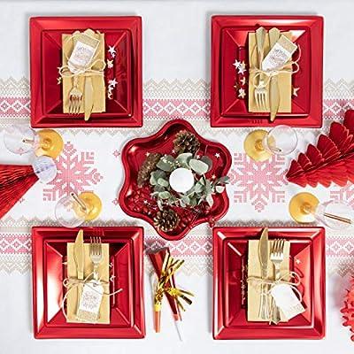 Pack ahorro] Kit de vajilla desechable elegante con decoración de ...