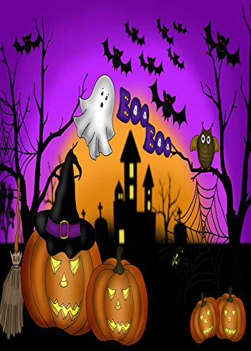Wamika Home Decorative Garden Flag Halloween Pumpkin Gost Double Sided House Yard Flag, Owl Bat Castle Seasonal Outdoor Flags Bannner 28x 40 Inch