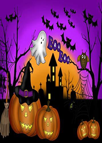 Wamika Home Decorative Garden Flag Halloween Pumpkin Gost Double Sided House Yard Flag, Owl Bat Castle Seasonal Outdoor Flags Bannner 28x 40 Inch -