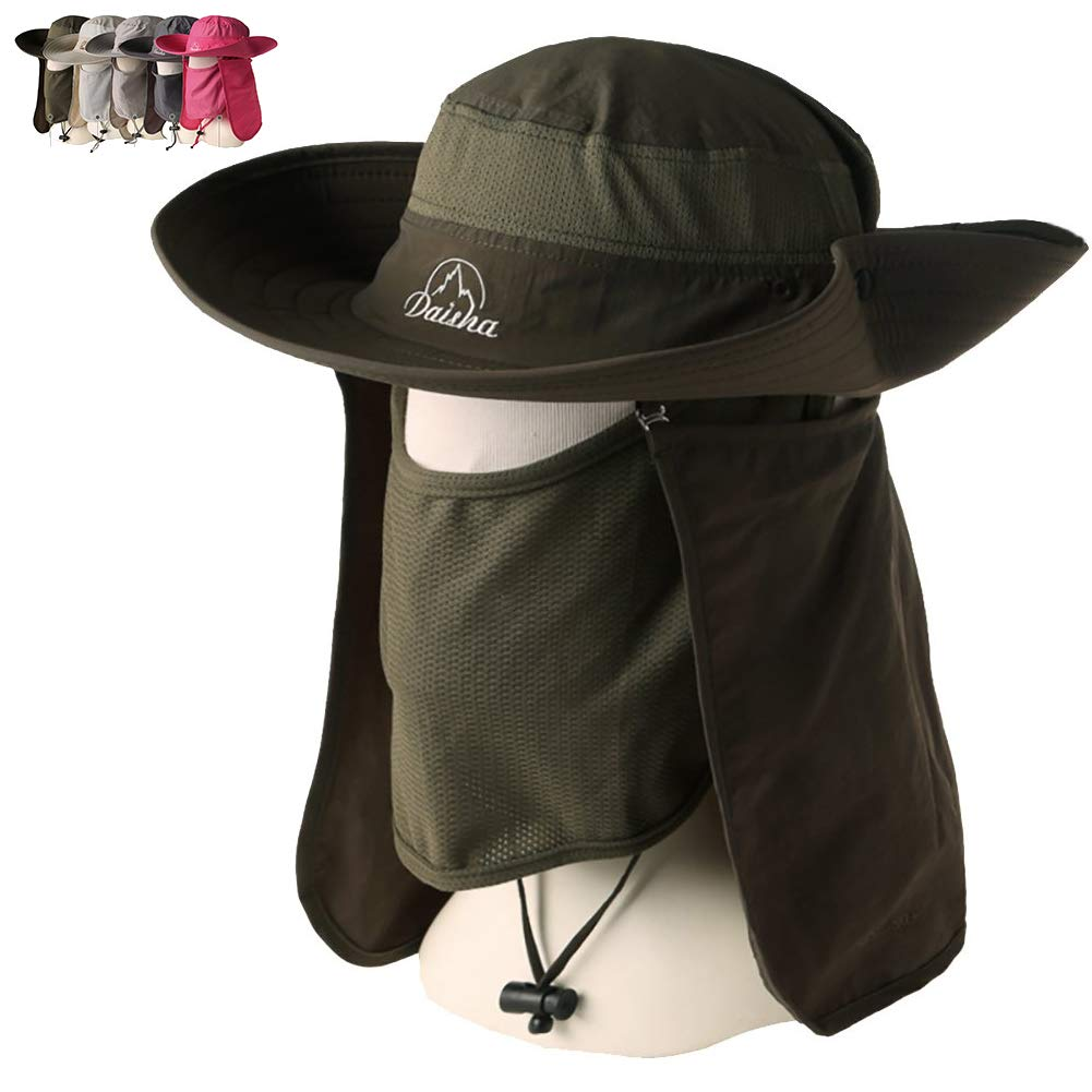 Peicees Wide Brim Fishing Sun Hat Cowboy Bonnie Bucket Hat Safari Cap with Detachable Neck and Face Flap for Men Women Girls and Boys Army Green