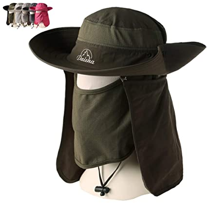Amazon.com   Peicees Wide Brim Fishing Sun Hat Cowboy Bonnie Bucket ... fb3c13aa4ded