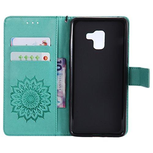 Funda Samsung A8 2018+, SsHhUu Funda PU Piel Genuino Carcasa en Folio [Ranuras para Tarjetas] [Cierre Magnetico] con Lápiz óptico + Acollador para Samsung Galaxy A8 2018+ A730F A730F/DS 6 Verde Verde